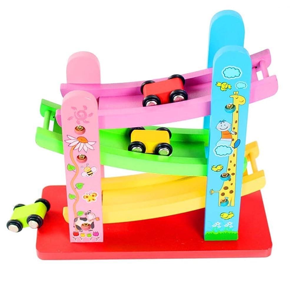 なしで季節社会学Xyanzi 子どもおもちゃ 車の傾斜路レーサー、3つの小型車が付いている木の傾斜路の多彩な木製のレーストラックの傾斜路の初期の開発車のプレイセットのおもちゃ(サイズ:8.46X3.94X8.27