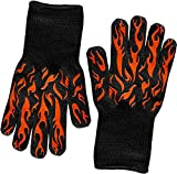 HellFire BBQ & Ove Gloves are Extremely Flame & Heat Resistant Barbecue Mitts with Silicone Fingers for Grilling, Smoker, Pit, Fireplace, Camping, or Kitchen Oven - EN407 Rated to 932 Fahrenheit