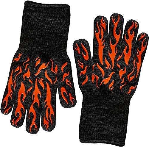HellFire BBQ & Ove Handschuhe sind extrem Flammen & Hitzeresistente Grillhandschuhe mit Silikonfingern für Grill, Räuchern, Feuergrube, Feuerstelle, Zelten oder Küchenofen - EN407 bis 500 Grad Celsius