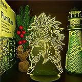 Lámpara de ilusión 3D Luz de noche LED Dragon Ball Z Goku Super Saiyan 3 Lámpara de anime Cielo nocturno 7 Cambio de color Dragon Ball Super Ssj3 Lámpara de Goku Led