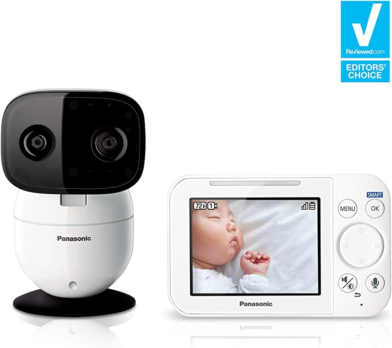 Panasonic Video Baby Monitor With Remote Pan Tilt Zoom Extra Long Audio Video Range 2 Way Talk And Lullaby Or White Noises 1 Camera KX HN4101W White Updated 2019 Version