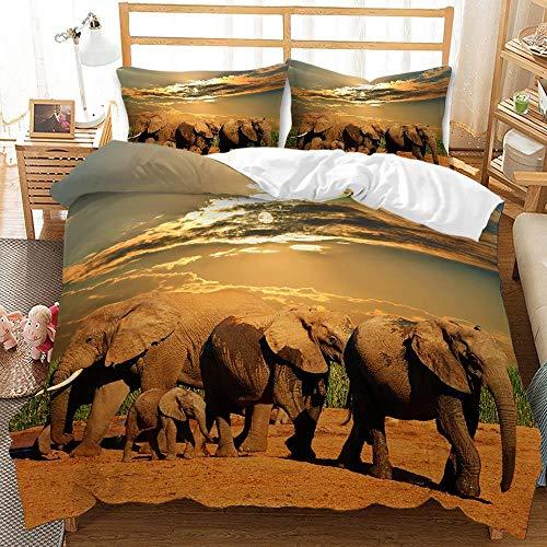 YMYGYR Funda de Almohada con Funda nórdica con Estampado de Elefante arcoíris en 3D, Ropa de Cama Suave y cómoda, Adecuada para Decorar dormitorios, hoteles temáticos-F_228x228cm (3 Piezas)