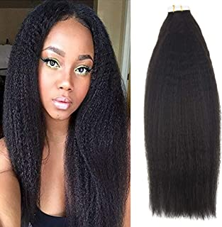 Full Shine 22 Inch Natural Color Kinky Straight Tape in Hair Extensions 50 Gram Per Package Human Hair Remy Human Tape In Extensions