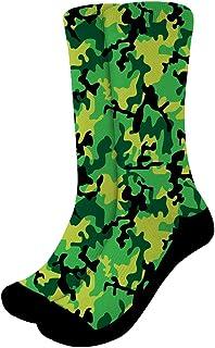 Nopersonality 2 4 Pairs Men's Cushion Crew Socks Funky Camouflage Graffiti Print Crazy Stockings