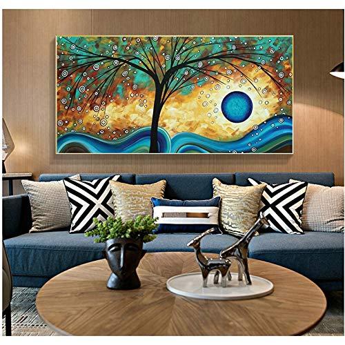 wZUN Árbol Abstracto Puesta de Sol Ola Pintura al óleo Lienzo Arte Cartel e impresión Cuadro de Arte de Pared para Sala de Estar decoración del hogar 60X120 Sin Marco