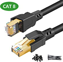 Ethernet Cable 6.5 ft - Cat 8 High Speed 2000MHZ 40GBPS Internet Patch Cable Cord Shielded Durable Gold Plated RJ45 Connector for Gaming PC TV PS4 Modem Router Mac Laptop Xbox Movie Black - 2m