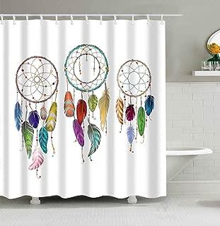 Mantto Dream Catcher Shower Curtain Waterproof, Colorful Ethnic Dreamcatchers Native American Tribal Design Elements Print, Fabric Bathroom Shower Curtain Set 72