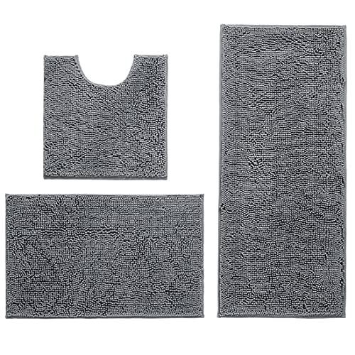 Inspireyee 3er Pack Badteppich Set Chenille Badematte, Ultraabsorbierende und extra weiche, zottelige Teppiche, rutschfeste Teppichmatten für die Badküche (grau)