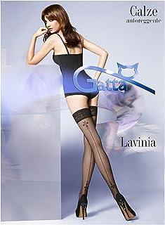 Gatta Lavinia 17 - elegant gemusterte halterloser Strümpfe - Stay-Ups mit Naht und Tattoo
