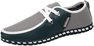 Men's Casual Shoes Breathable Flat Trainers Shoes (Color : Green, Size : 7.5 UK)