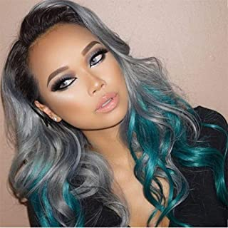 FMEZY Cosplay Long Grey Wig Synthetic Water Wavy Hair Heat Resistant Two Tones Ombreblue Wig for Women 21