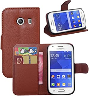 Premium Leather Wallet [ Flip Bracket ] Case Cover for Samsung Galaxy Ace Style/SM-G310 / S765C (Wallet - Brown)