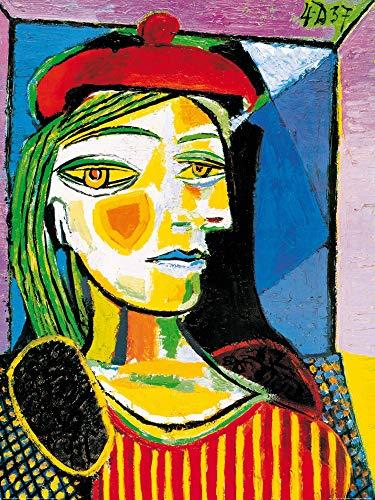 1art1 Pablo Picasso - Femme Au Beret Rouge Poster Kunstdruck 80 x 60 cm