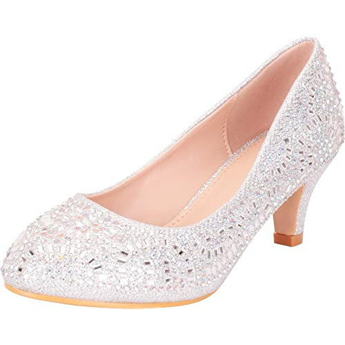 67db2126f2fa Cambridge Select Women s Closed Round Toe Slip-On Glitter Crystal  Rhinestone Kitten Heel Dress Pump