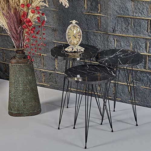 Derin's Couchtisch | Beistelltisch 3er Set Schwarz | Kaffeetische Rund | Couchtische 3 stück | Couchtischset | Marmor Look | Stapeltisch | Beistelltische | Salon Tisch | Stapelbare tische