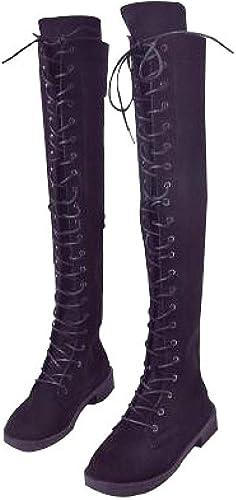 ZHRUI Stiefel Planas de Gamuza de Cuero de otoño para damen Stiefel Planas (Farbe   schwarz, tamaño   40EU)