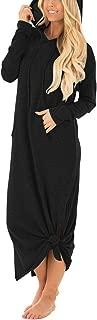 Women's Casual Pockets Hoodies Long Sleeve Split Hooded Long Maxi Dress