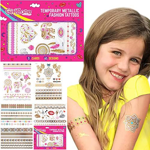 GirlZone GirlZone Geschenke für Mädchen - Tattoos Mädchen Temporäre Flash Tattoos Glitter Mitgebsel Mädchen Geschenke 3 -12 Jahre Weihnachtsgeschenke für Kinder