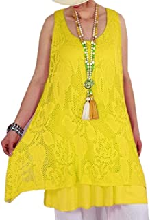 Women Lace Ruffle Sleeveless Tunic Top Summer Swing Mini Dress