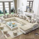 Quality Assure Furniture Hardwood 9 Seater Fabric Sofa Set with 4-Puffy (Roland Beige and White)