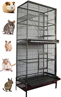 2 Color, New Large Double Stackable Wrought Iron Ferret Chinchilla Sugar Glider Small Animal Cage with Metal Tray and Removable Stand
