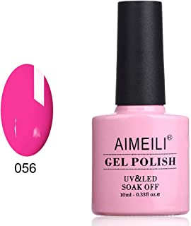 AIMEILI Soak Off UV LED Gel Nail Polish - Neon Peachy Pink (056) 10ml