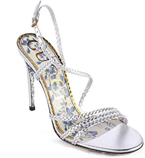 5f746750208 Gucci Women s Braided Metallic Leather Sandal Silver