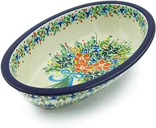 Polish Pottery 11-inch Oval Baker made by Ceramika Artystyczna (Blue Ribbon Bouquet Theme) Signature UNIKAT + Certificate of Authenticity
