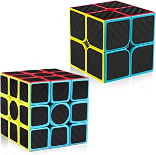 D-FantiX Carbon Fiber 2x2 3x3 Speed Cube Set, Magic Cube Puzzle Toys Kids