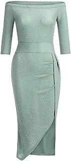 KAIXLIONLY Women Dresses Off Shoulder High Waist Slit Bodycon Dress Sequin Evening Paty Prom Gown Long Maxi Dress