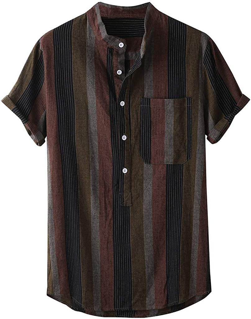 Mens Summer Stand Collar Strip Print Short Sleeve Shirt Fashion Top