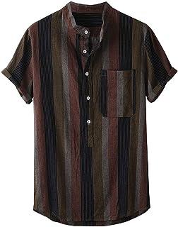 iHPH7 Shirt Men Casual Short Sleeve Hawaiian Striped Cotton Linen Loose Buttons Shirt