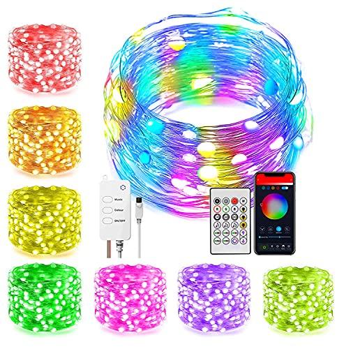 Guirnalda de Luces LED RGB 10M 66LEDs, Bluetooth, Control Remoto, App, Modo de Música, Temporizador, Puerto USB 5V, Ideal para Fiestas y Celebraciones, Multicores