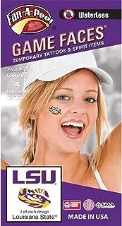 Fan A peel LSU Tigers – Waterless Peel & Stick Temporary Spirit Tattoos – 4-Piece – 2 Purple/Gold LSU Logo & 2 Purple/Gold Tiger Eye Logo
