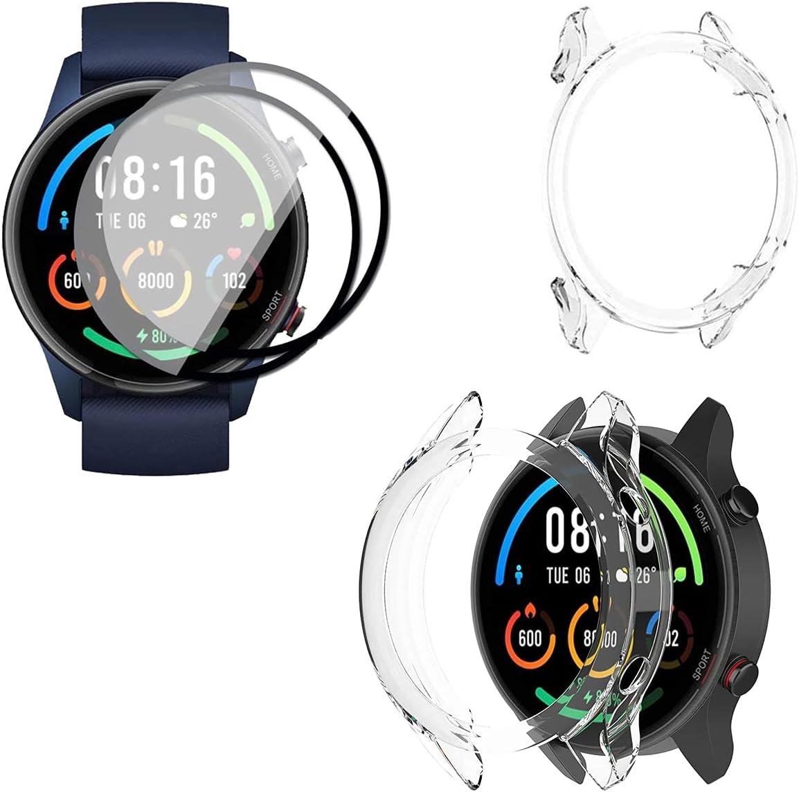 2 Piezas Protector Pantalla para Xiaomi Mi Watch/Mi Watch Color Funda [1 Piezas] Cover, [NO Vidrio] TPU Suave láminas Protectora Anti-rasguños HD Clear TPU [ Alta Sensibilidad]