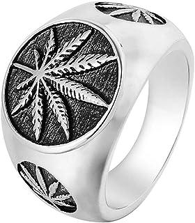 LAMUCH Hommes Vintage Anneau en Acier Inoxydable Weed Marijuana Cannabis Feuille Symbole Rock Punk Hip-hop Bijoux Nous Taille 7-15