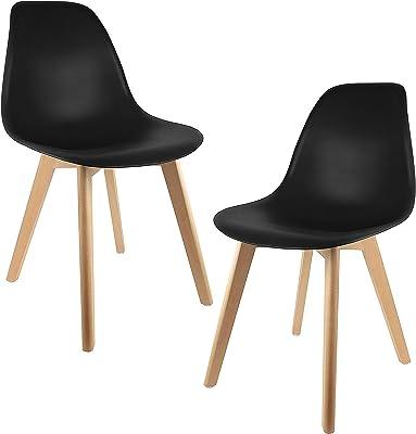 THE HOME DECO FACTORY HD3075/VP Lot de 2 Chaises Scandinave Bois + Plastique Noir 46, 20 x 52 x 86, 40 cm