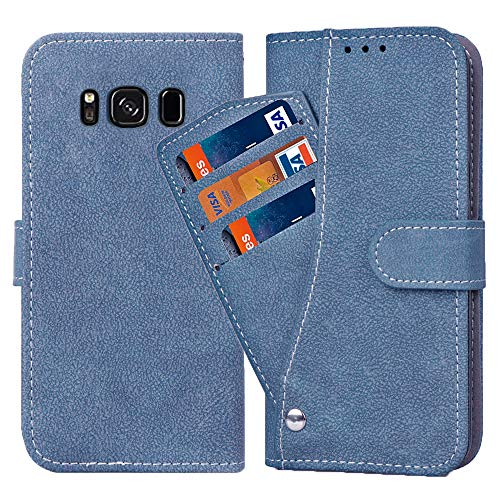 Asuwish Galaxy S8 Plus/S8+ Wallet Case,Leather Phone Cases with Credit Card Holder Slot Kickstand Stand Flip Folio Protective Cover for Samsung Galaxy S8plus 8Plus 8+ Girls Men Blue