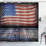 Cortina de ducha de los Estados Unidos, cuatro de julio Día de la Independencia Wooden Imagen de registro de piso rústico Vista ondulada de la pared, Juego de decoración de baño de tela de tela con ga