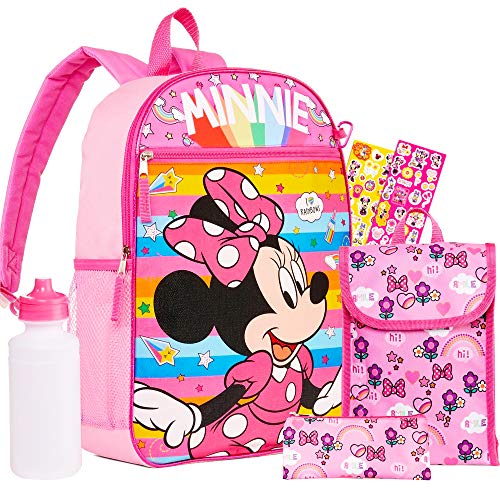 Disney Minnie Mouse 6 Pc Backpack School Set ~ Bundle Includes Deluxe 16 Inch Backpack, Lunch Bag, Water Bottle, and More (Minnie Mouse School Supplies)