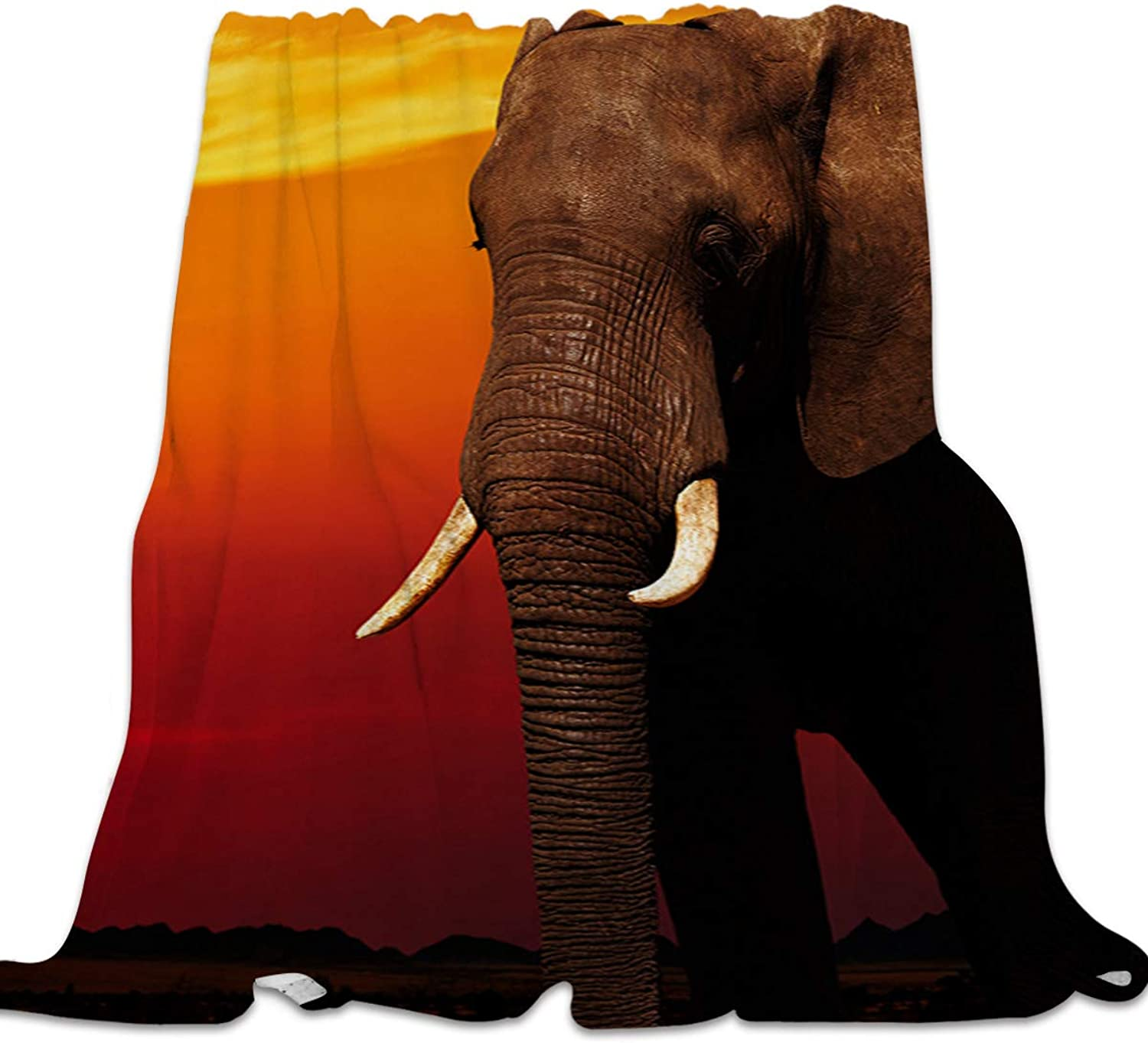 YEHO Art Gallery Soft Flannel Fleece Bed Blanket Throw-Blankets for Girls Boys,Because Landscape of Elephant Animal Pattern,Lightweight Warm Blankets for Bedroom Living Room Sofa Couch,39x49inch