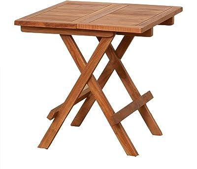 クロシオ チークテーブル 幅50cm 折りたたみ式 木製 サイドテーブル カントリー調 055000