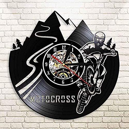 ZYBBYW Reloj de Pared de Vinilo Motocross Motocicleta Motorista Registro lámpara de Pared Motocross Motocicleta Reloj de Pared Mudo