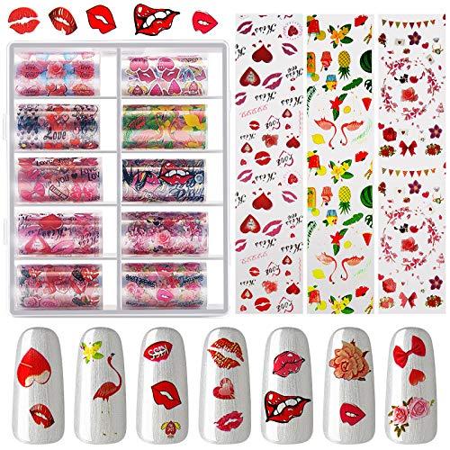 20 Rollos de Pegatinas de Transfer de Papel Aluminio de Uñas, Pegatinas de Patrón de Labios Rojos Rosa Romántica Flamenco Corazón y Gel Adhesivo