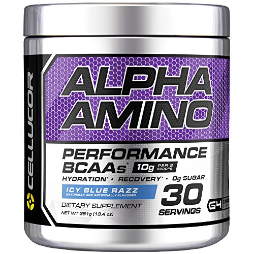 Cellucor Alpha Amino EAA & BCAA Powder | Branched Chain Essential Amino Acids + Electrolytes | Icy Blue Razz | 30 Servings