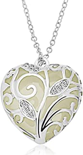 RINHOO Steampunk Magical Fairy Glow in The Dark Heart Charms Pendant Necklace White Gold Plated
