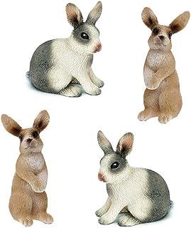 HanYoer 4 pcs Rabbit Toy Figure, Rabbit Figure Toy Collection Playset, Cake Topper,..