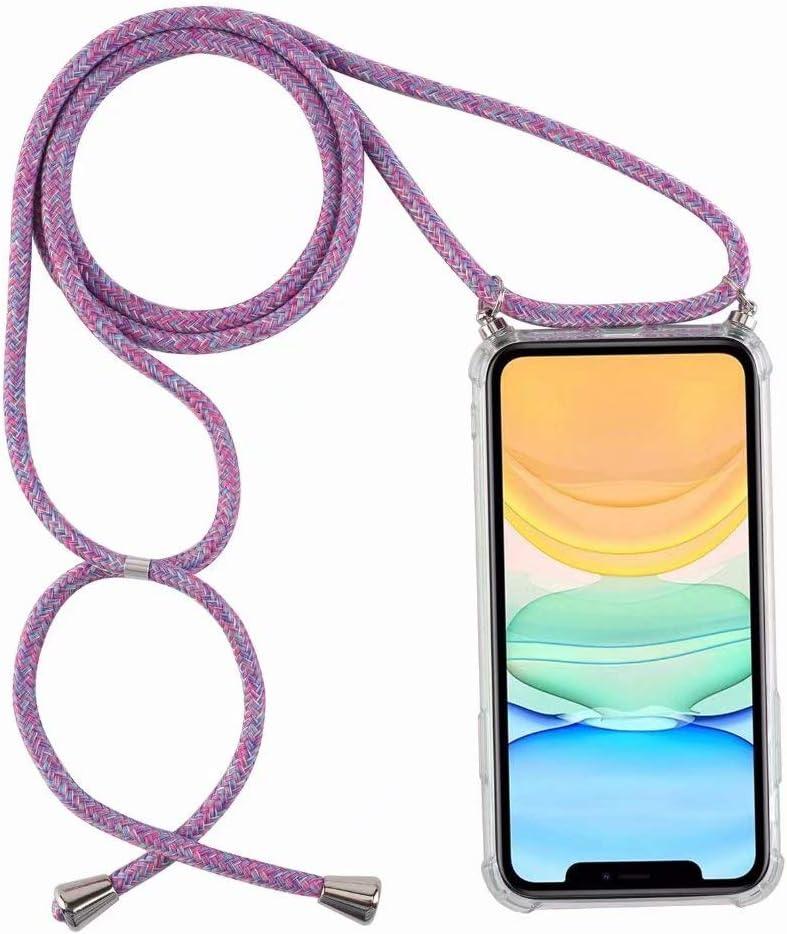 Bigcousin Funda con Cuerda Compatible con Xiaomi Redmi Note 9S//Note 9 Pro,Ultrafina Suave Transparente TPU con Ajustable Collar Cadena Cord/ón,Negro