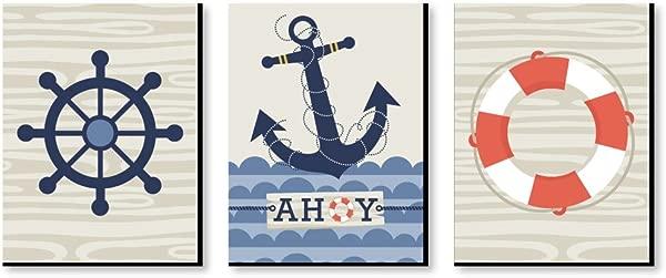 幸福的大点 Ahoy 航海男孩幼儿园墙壁艺术和儿童房装饰 7 5X10 英寸一套 3 张照片