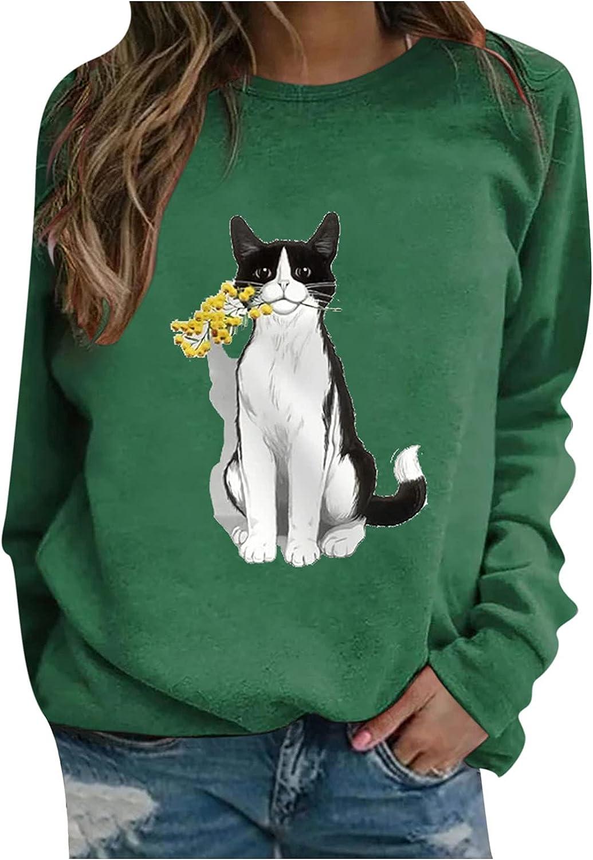 wlczzyn Crewneck Sweatshirts for Women,Women's Long Sleeve Printed Sweatshirts Tops Lightweight Pullover Tops Outwear